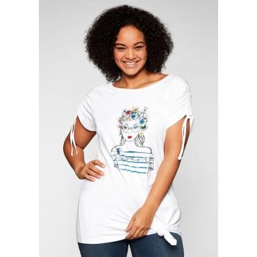 Shirt mit Frontdruck und Glitzersteinen, weiß, Gr.44/46-56/58
