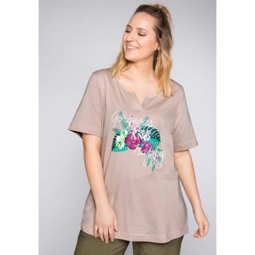 Große Größen: Shirt mit Frontdruck und Rundhalsausschnitt, taupe, Gr.44/46-56/58