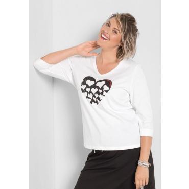 Große Größen: Shirt mit Frontdruck, weiß, Gr.40/42-56/58