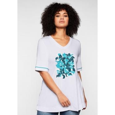 Shirt mit Frontprint und V-Ausschnitt, aus Viskose, weiß, Gr.44/46-56/58