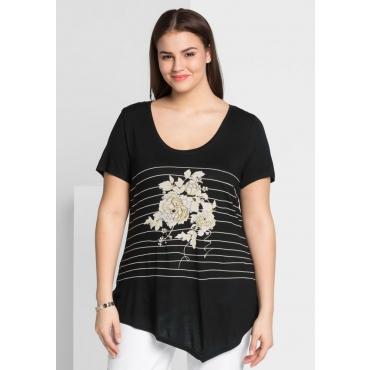 Große Größen: Shirt mit gestreiftem Vorderteil, schwarz, Gr.44/46-56/58