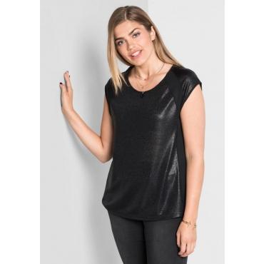 Große Größen: Shirt mit Glitzerdruck, schwarz, Gr.40/42-56/58