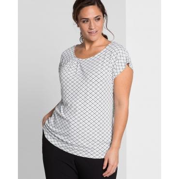 Große Größen: Shirt mit grafischem Alloverdruck, schwarz bedruckt, Gr.44/46-56/58