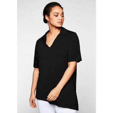 Shirt mit Hemdkragen und seitlichen Streifen, schwarz, Gr.44/46-56/58