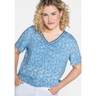 Shirt mit Inside-out-Druck und V-Ausschnitt, jeansblau bedruckt, Gr.44/46-56/58