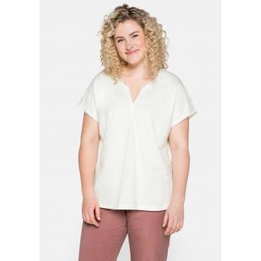 Shirt mit kleiner Spitzenborte, in Flammgarn-Optik, offwhite, Gr.44/46-56/58