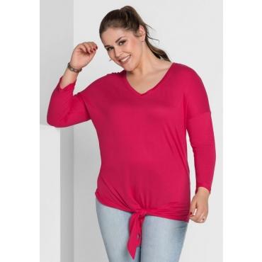 Große Größen: Shirt mit Knoten, dunkelpink, Gr.40/42-56/58
