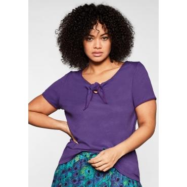 Shirt mit Knotendetail am Ausschnitt, lila, Gr.44/46-56/58