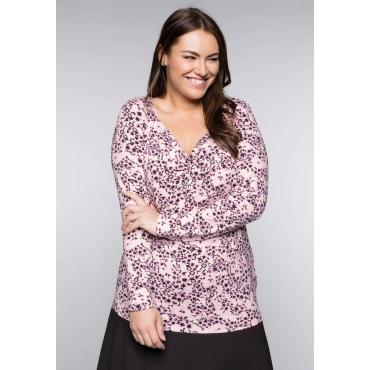 Shirt mit Knotendetail und Allover-Blumendruck, cremerosé bedruckt, Gr.44/46-56/58