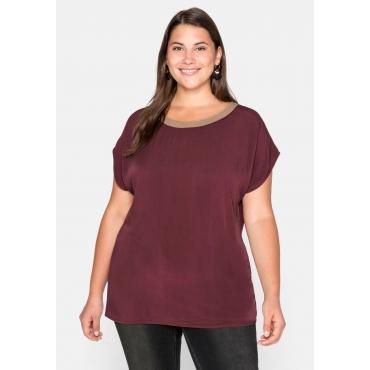 Shirt mit Kontrast-Ausschnitt und weiten Ärmeln, barolo, Gr.44/46-56/58