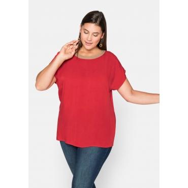 Shirt mit Kontrast-Ausschnitt und weiten Ärmeln, feuerrot, Gr.44/46-56/58