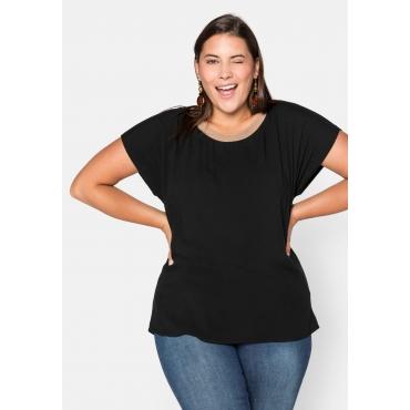 Shirt mit Kontrast-Ausschnitt und weiten Ärmeln, schwarz, Gr.44/46-56/58