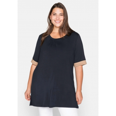 Shirt mit Kontrastbündchen, aus Viskose, nachtblau, Gr.44/46-56/58