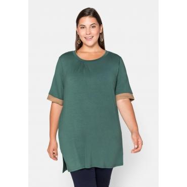 Shirt mit Kontrastbündchen, aus Viskose, opalgrün, Gr.44/46-56/58