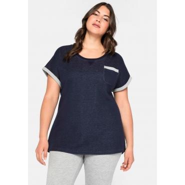 Shirt mit Kontrastdetails, figurumspielend, marine, Gr.44/46-56/58