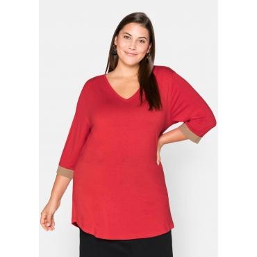 Shirt mit kontrastfarbenen Rippbündchen, feuerrot, Gr.44/46-56/58