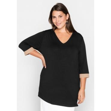 Shirt mit kontrastfarbenen Rippbündchen, schwarz, Gr.44/46-56/58