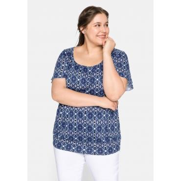 Shirt mit Kräuselung und Flügelärmeln, royalblau-weiß, Gr.44/46-56/58