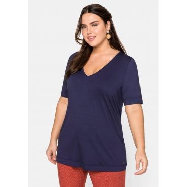 Shirt mit Kurzarm und V-Ausschnitt, marine, Gr.44/46-56/58