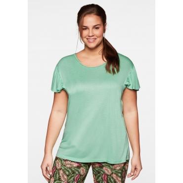 Shirt mit kurzen Flügelärmeln und Flechtdetails, weich, mint, Gr.44/46-56/58