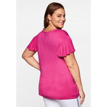 Shirt mit kurzen Flügelärmeln und Flechtdetails, weich, pink, Gr.44/46-56/58