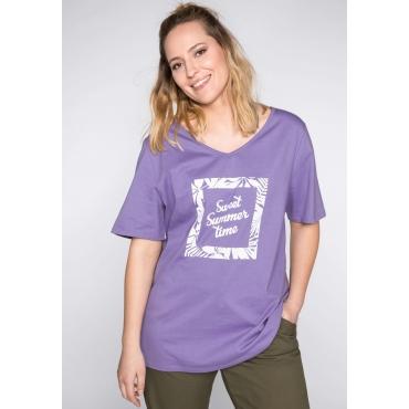 Shirt mit längerem Halbarm und Blumen-Frontdruck, helllila, Gr.44/46-56/58