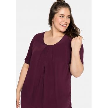 Shirt mit längeren Halbarmen, im Lagenlook, bordeaux, Gr.44-58
