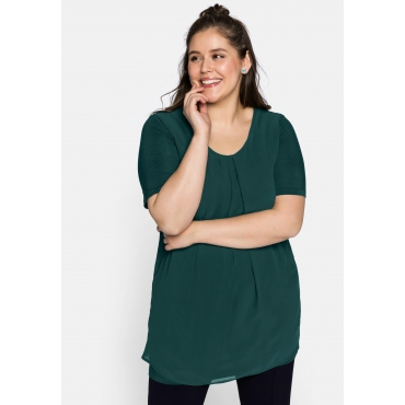 Shirt mit längeren Halbarmen, im Lagenlook, tiefgrün, Gr.44-58