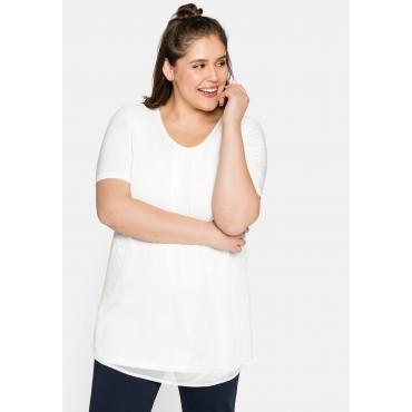 Shirt mit längeren Halbarmen, im Lagenlook, weiß, Gr.44-58
