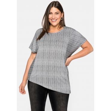 Shirt mit Längs- und Querstreifen, elastische Viskose, schwarz-weiß, Gr.44/46-56/58