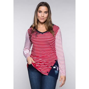 Shirt mit maritimen Streifen und Druckmotiv, rot-weiß, Gr.44/46-56/58