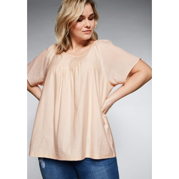 Große Größen: Shirt mit Materialmix mit Karree-Ausschnitt, helllachs, Gr.44/46-56/58