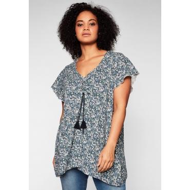 Shirt mit Millefleurs-Druck und Bindebändern, nachtblau bedruckt, Gr.44/46-56/58