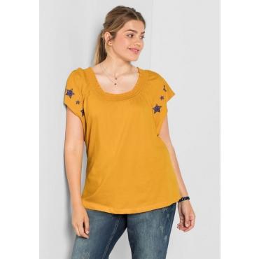 Große Größen: Shirt mit modischen Flügelärmeln, curry, Gr.40/42-56/58