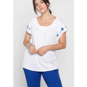 Große Größen: Shirt mit modischen Flügelärmeln, weiß, Gr.40/42-56/58