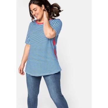 Shirt mit Multicolor-Streifen und Kontrastdetails, blau gestreift, Gr.44/46-56/58