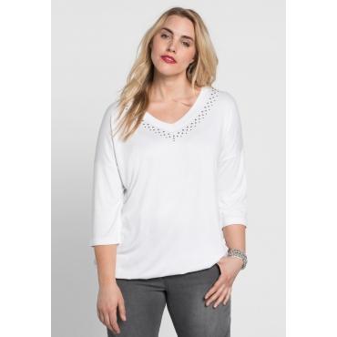 Shirt mit Nietenapplikation und 3/4-Ärmeln, weiß, Gr.44/46-56/58