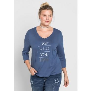 Große Größen: Shirt mit Nietenapplikation, rauchblau, Gr.40/42-56/58