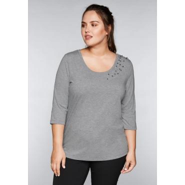 Große Größen: Shirt mit Perlen, hellgrau meliert, Gr.44/46-56/58