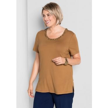 Große Größen: Shirt mit Perlenbesatz, cognac, Gr.40/42-56/58