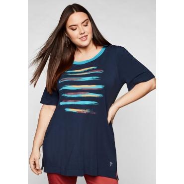 Shirt mit Print und kontrastfarbenem Ausschnitt, marine, Gr.44/46-56/58