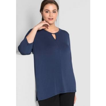 Große Größen: Shirt mit raffiniertem Ausschnitt, marine, Gr.44/46-56/58