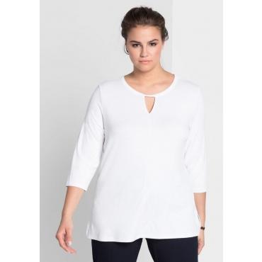 Shirt mit raffiniertem Ausschnitt, weiß, Gr.44/46-56/58