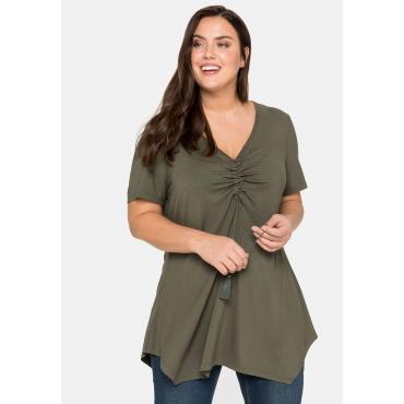 Shirt mit Raffung am V-Ausschnitt, in Zipfelform, dunkelkhaki, Gr.44/46-56/58