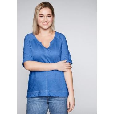 Shirt mit Raglanärmeln in gewaschener Optik, azurblau, Gr.44/46-56/58