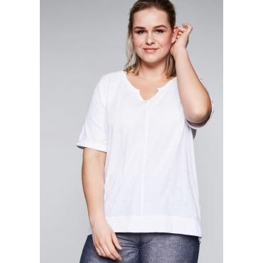Shirt mit Raglanärmeln in gewaschener Optik, weiß, Gr.44/46-56/58