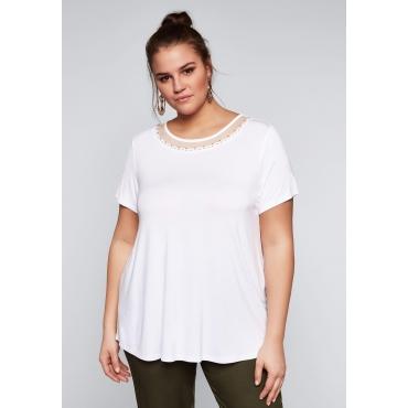 Große Größen: Shirt mit Rundhalsausschnitt aus Meshqualität, weiß, Gr.44/46-56/58