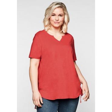 Shirt mit seitlichen, regulierbaren Raffungen, korallrot, Gr.44/46-56/58