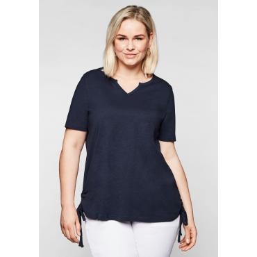 Shirt mit seitlichen, regulierbaren Raffungen, marine, Gr.44/46-56/58