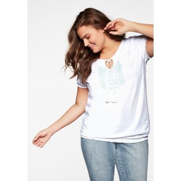Shirt mit Smokbündchen und Stickereien, weiß, Gr.44/46-56/58